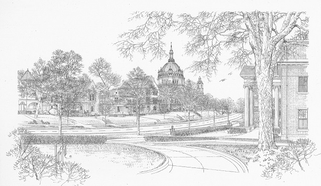 Summit Avenue                                                                                                                                                                 Saint Paul, Minnesota                                                                                                                                                                                                                                                                                                                                                                                                                                                                                                                                                                                                                Pen and Ink - 1998  
